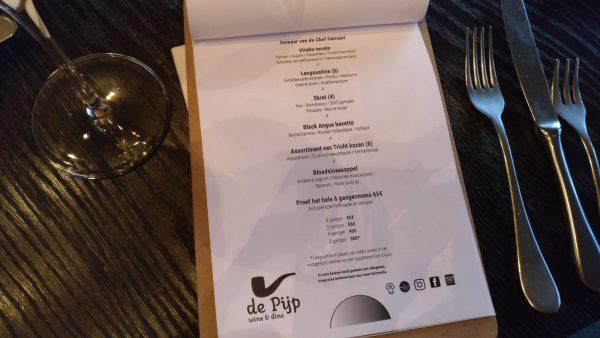 Uit eten bij De Pijp Groningen: wine en dine -menukaart