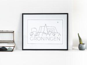 Poster Groningen met skyline Groningen Stad
