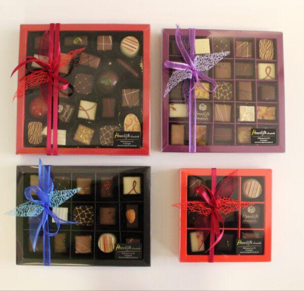 Bonbons chocolade cadeaupakket voor vader: online samenstellen en laten bezorgen bij vader door Heerlijk Chocolade Groningen